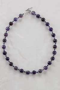 Purple Agate and Lapis Necklace