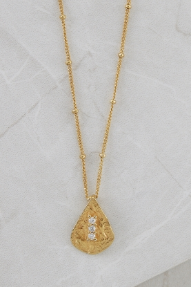 Crystal and Gold Hammered Pendant