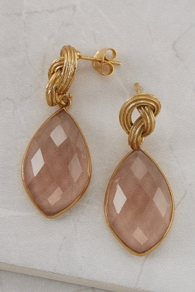Knotted Pink Quartz Drop Earrings