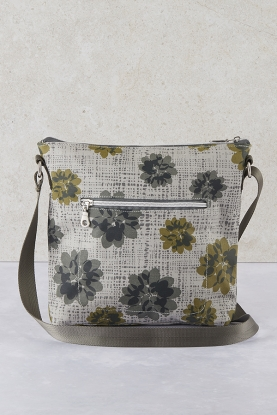 Floral Oil Cloth Messenger Bag