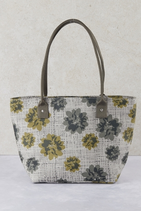 Floral Oil Cloth Tote Bag
