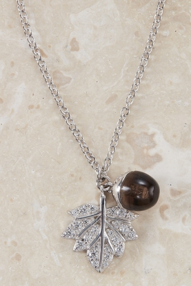 Sterling Silver Leaf and Acorn Necklace