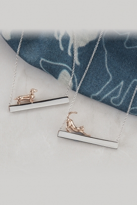 Sterling Silver ID Bar Necklace Dachshund & cat