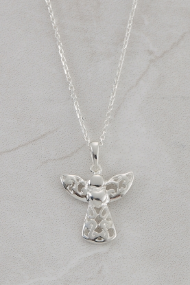 Filigree Angel with Heart Pendant