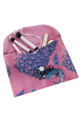 Merino Wool Peacock Cosmetics Pouch