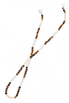 Tigers Eye and Pearl Necklace
