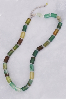 Green Agate Tube and Crystal Necklace