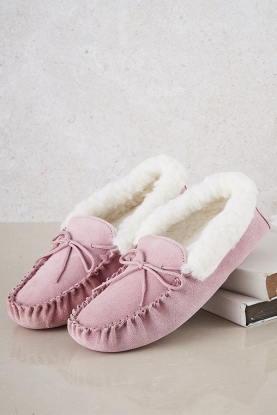 Wool Lined Moccasin Slippers