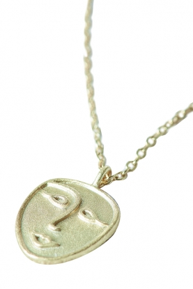 Gold Plated Face Pendant