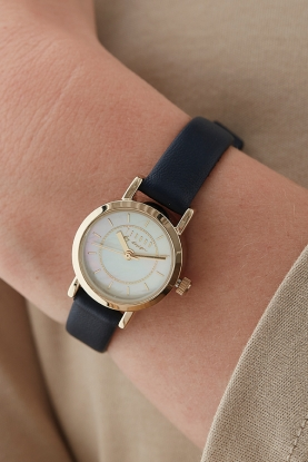 Blue Leather Strap Watch