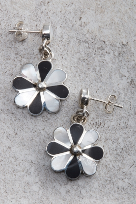 Peruvian Black & White Flower Earrings