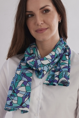 Blue Glass Silk Scarf
