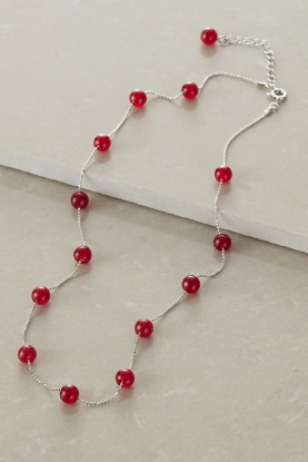 Red Agate Station Necklace