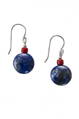 Lapis & Coral Earrings
